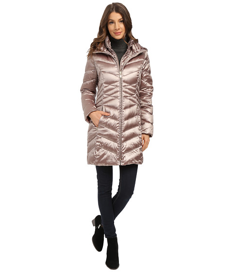 Ellen Tracy - Center Front Zip Packable Down w/ Fixed Bib (Bronze) Women's Coat