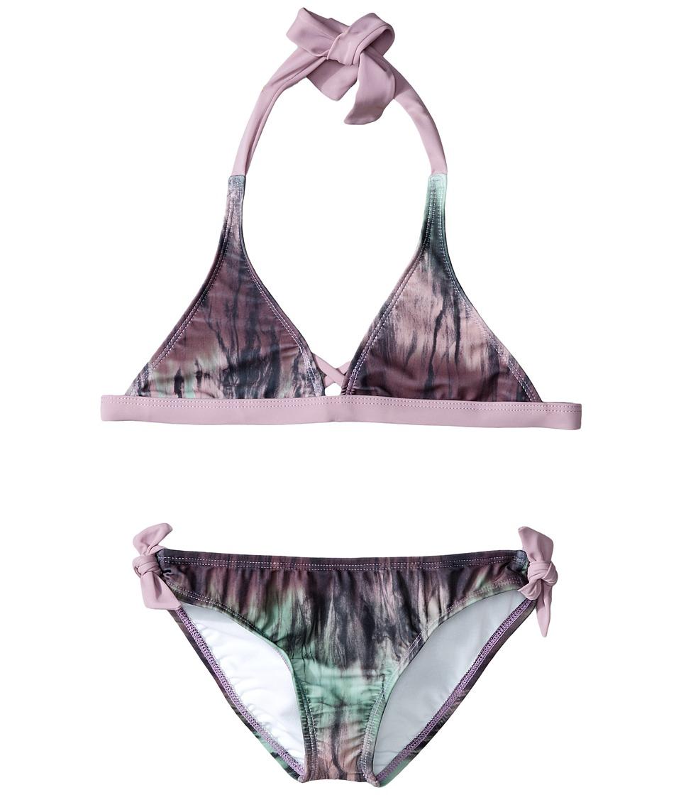 Hurley Kids - To Dye For Halter Top Retro Bottom (Big Kids) (Purple) Girl's Swimwear Sets