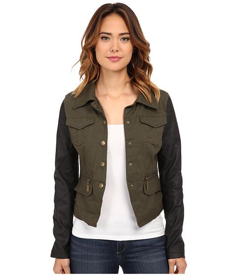 dollhouse - Cotton Twill w/ PU Sleeves Jacket (Black/Green) Women's Coat