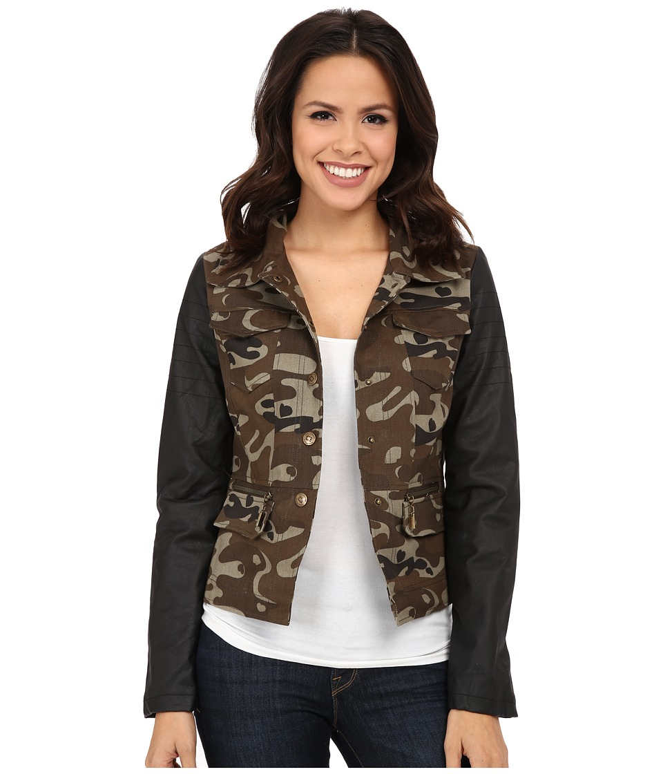 dollhouse - Cotton Twill w\/ PU Sleeves Jacket (Black\/Camo) Women's Coat