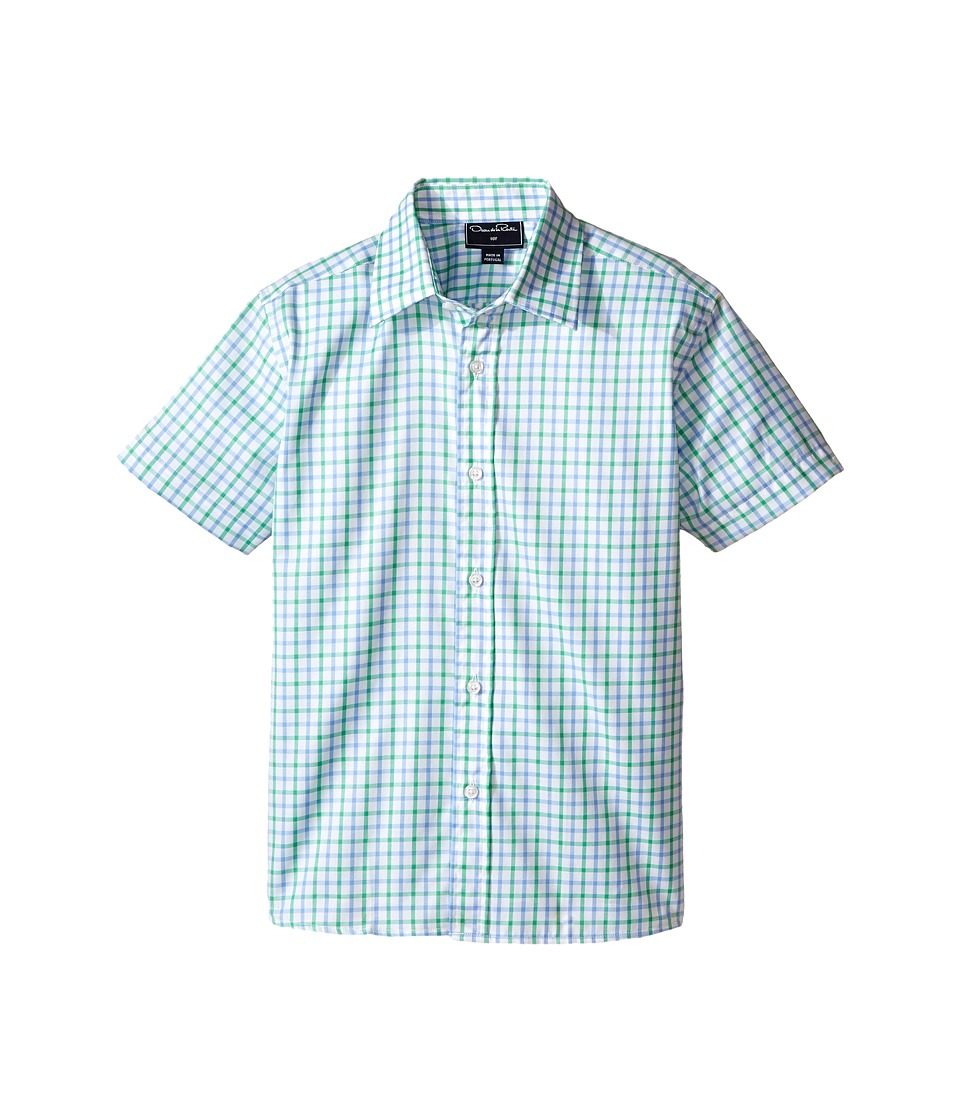 Oscar de la Renta Childrenswear - Check Cotton Short Sleeve Woven Shirt (Toddler/Little Kids/Big Kids) (Clover/Sky) Boy's Short Sleeve Button Up