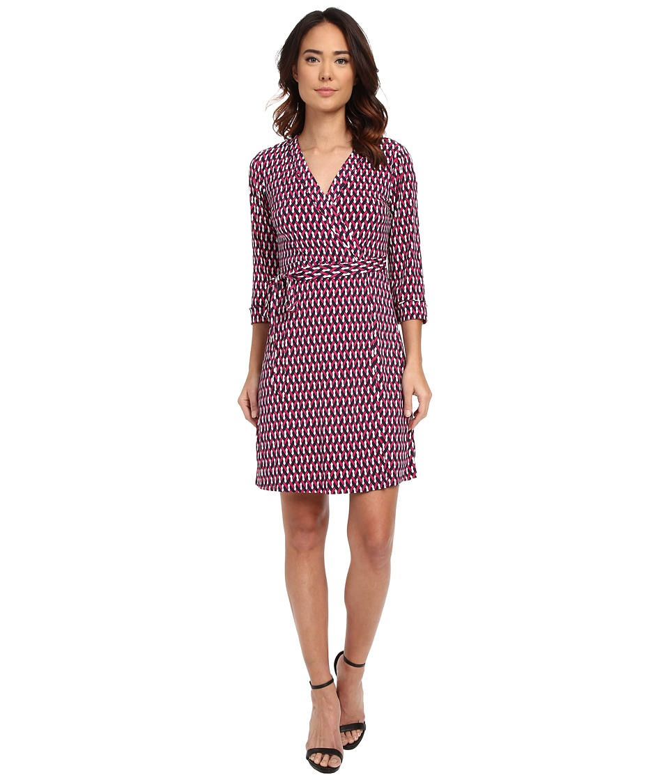 Laundry by Shelli Segal - Chain Glam' Matte Jersey Wrap Dress (Vivid Pink) Women's Dress