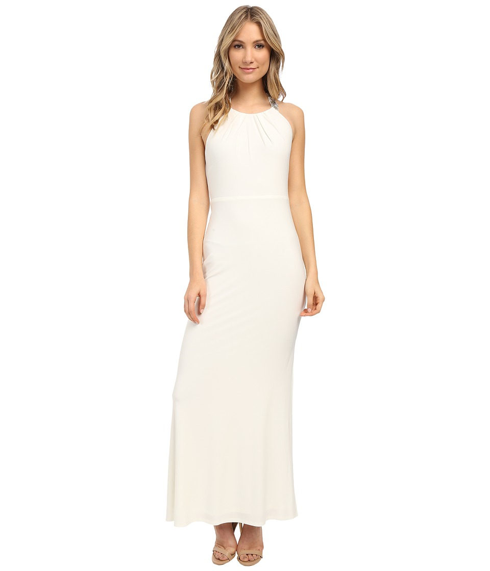 Laundry by Shelli Segal Jersey T-Back Beaded Gown Pearl Dress