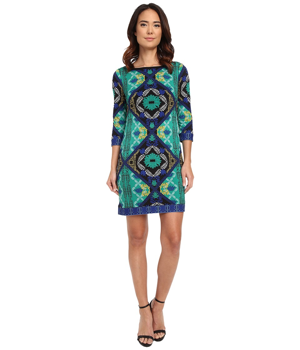 Laundry by Shelli Segal - Lotus Blossom Double Border' Matte Jersey T-Body Dress (Pepper Green) Women's Dress