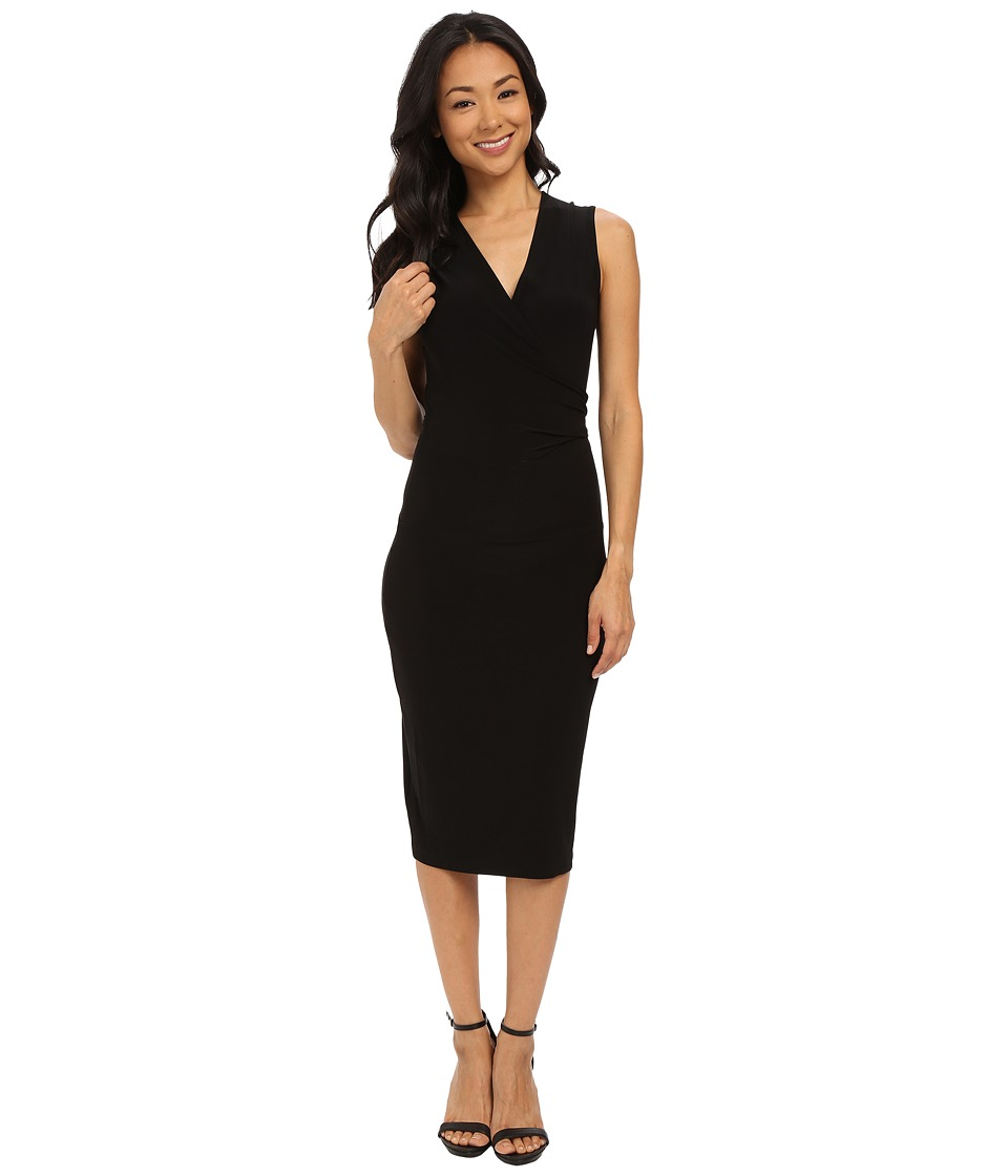 KAMALIKULTURE by Norma Kamali - Sleeveless Wrap Dress To Knee (Black) Women's Dress