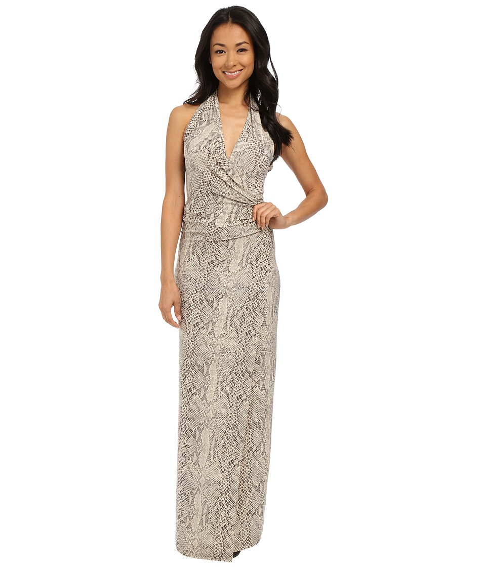 KAMALIKULTURE by Norma Kamali - Halter Wrap Long Dress (Python) Women's Dress
