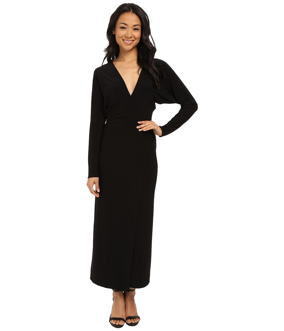 KAMALIKULTURE by Norma Kamali - Dolman Front Back Wrap Midcalf Dress (Black) Women's Dress