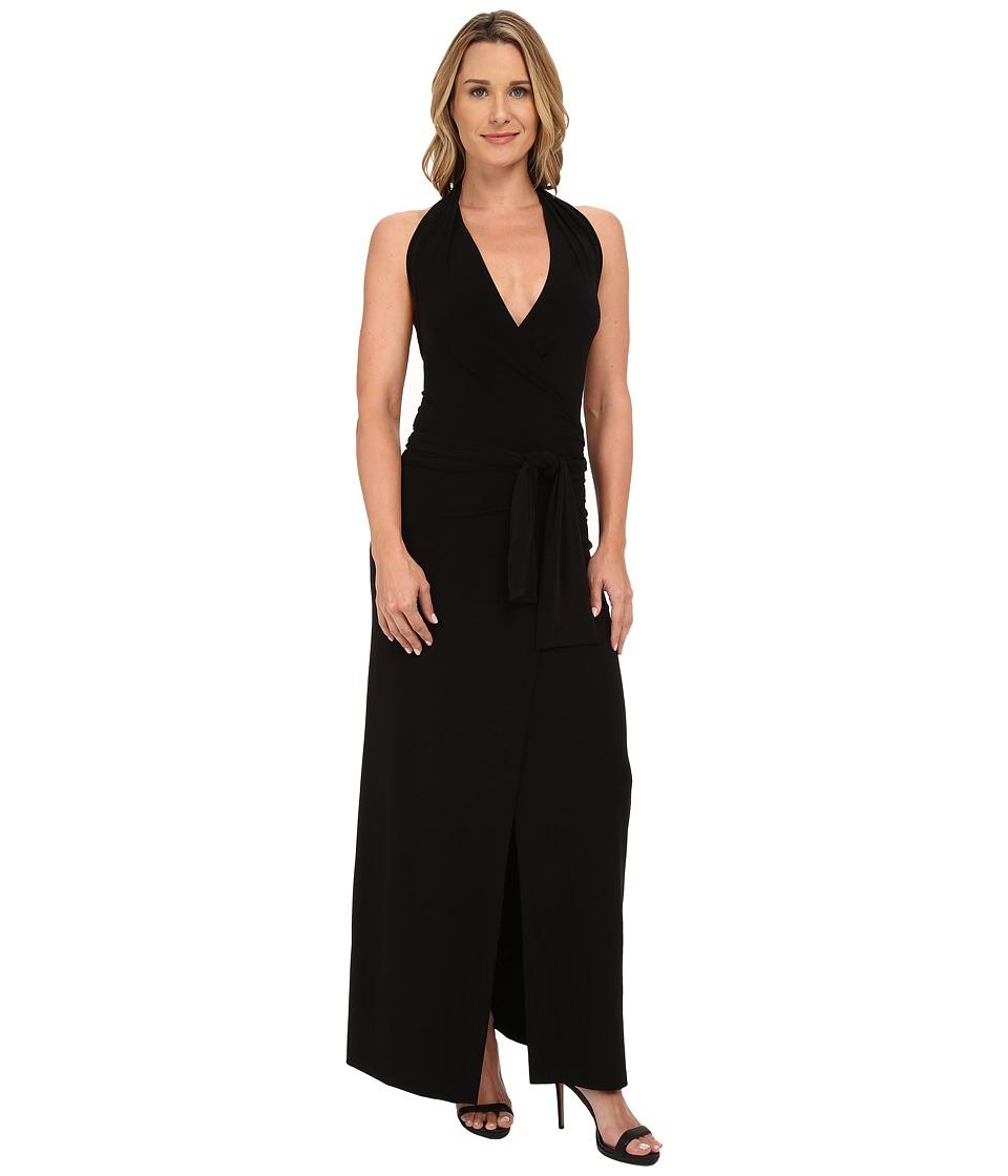 KAMALIKULTURE by Norma Kamali - Halter Wrap Long Dress (Black) Women's Dress
