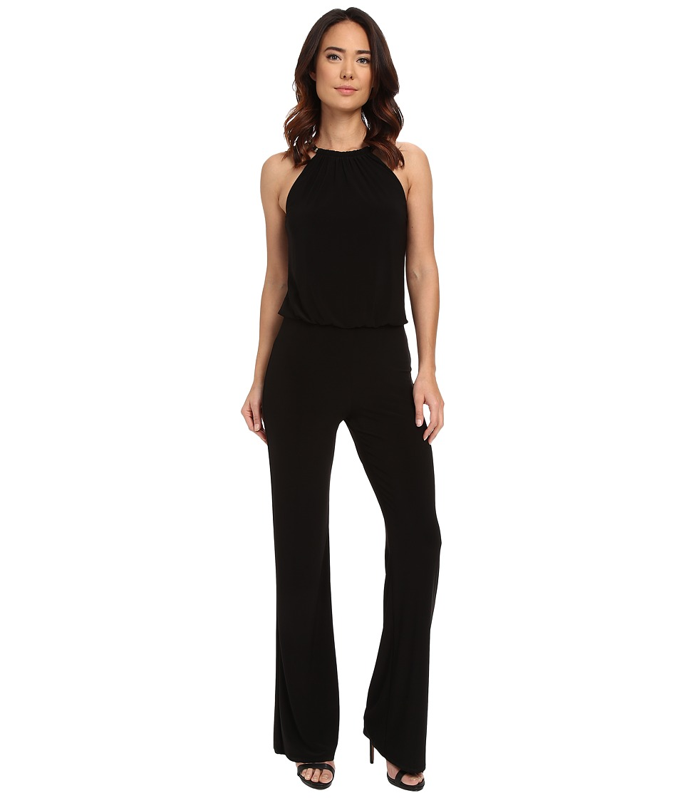 Laundry by Shelli Segal - Check Neck Blouson Jumpsuit (Black) Women's Jumpsuit & Rompers One Piece