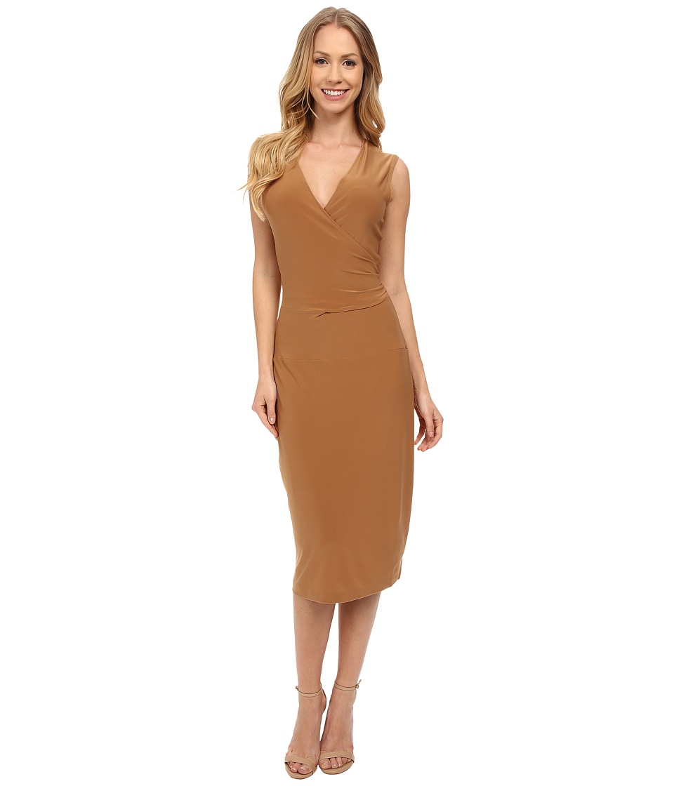 KAMALIKULTURE by Norma Kamali - Sleeveless Wrap Dress (Camel) Women's Dress