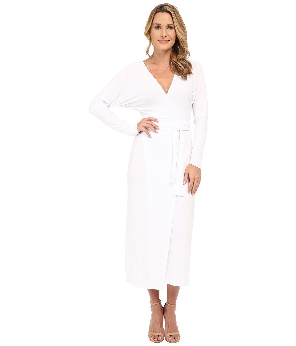 KAMALIKULTURE by Norma Kamali - Dolman Front Back Wrap Midcalf Dress (White) Women's Dress
