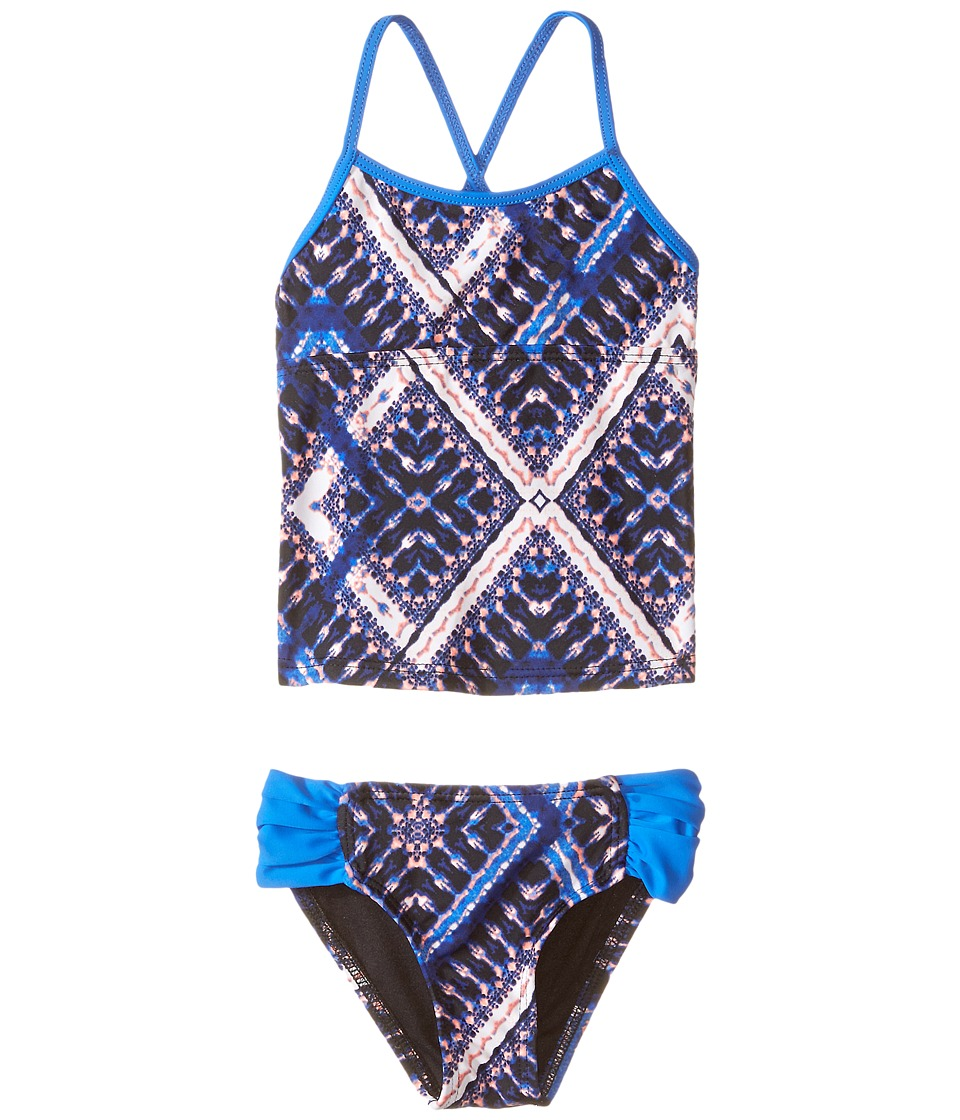 Hurley Kids - Tie-Dye Tankini Top Tab Side Bottom (Little Kids) (Blue) Girl's Swimwear Sets