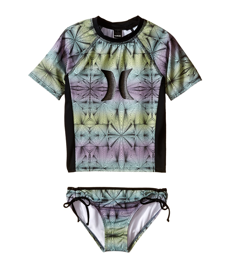 Hurley Kids - Fine Lines Surf Shirt Set (Little Kids) (Purple) Girl's Swimwear Sets