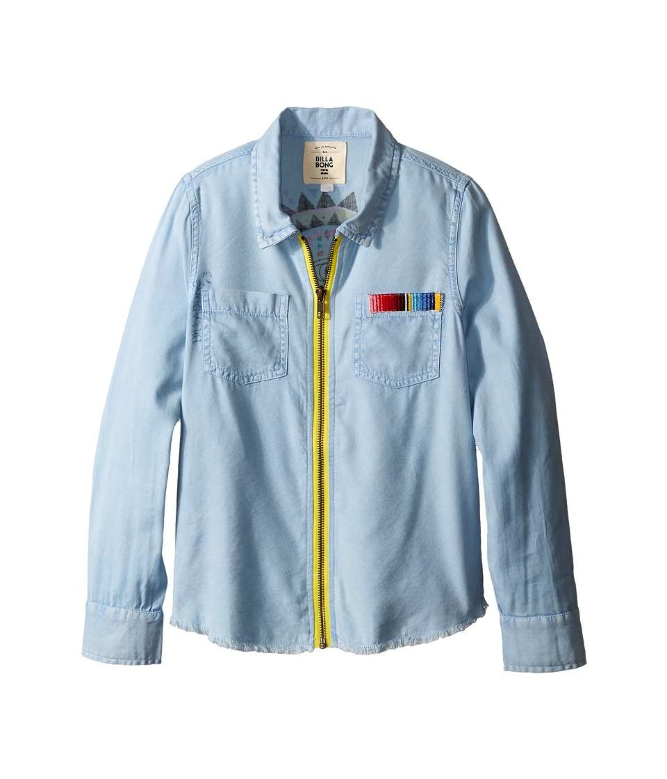 Billabong Kids - Me You At Sunrise Woven Zip-Up Top (Little Kids/Big Kids) (Chambray) Girl's Long Sleeve Button Up