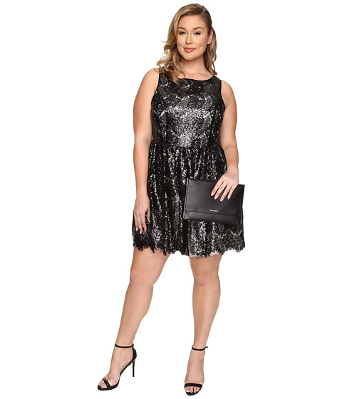 BB Dakota - Plus Size Hart Sequin Lace Dress (Black) Women's Dress