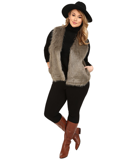 BB Dakota - Plus Size Libby Faux Fur Vest (Brown) Women