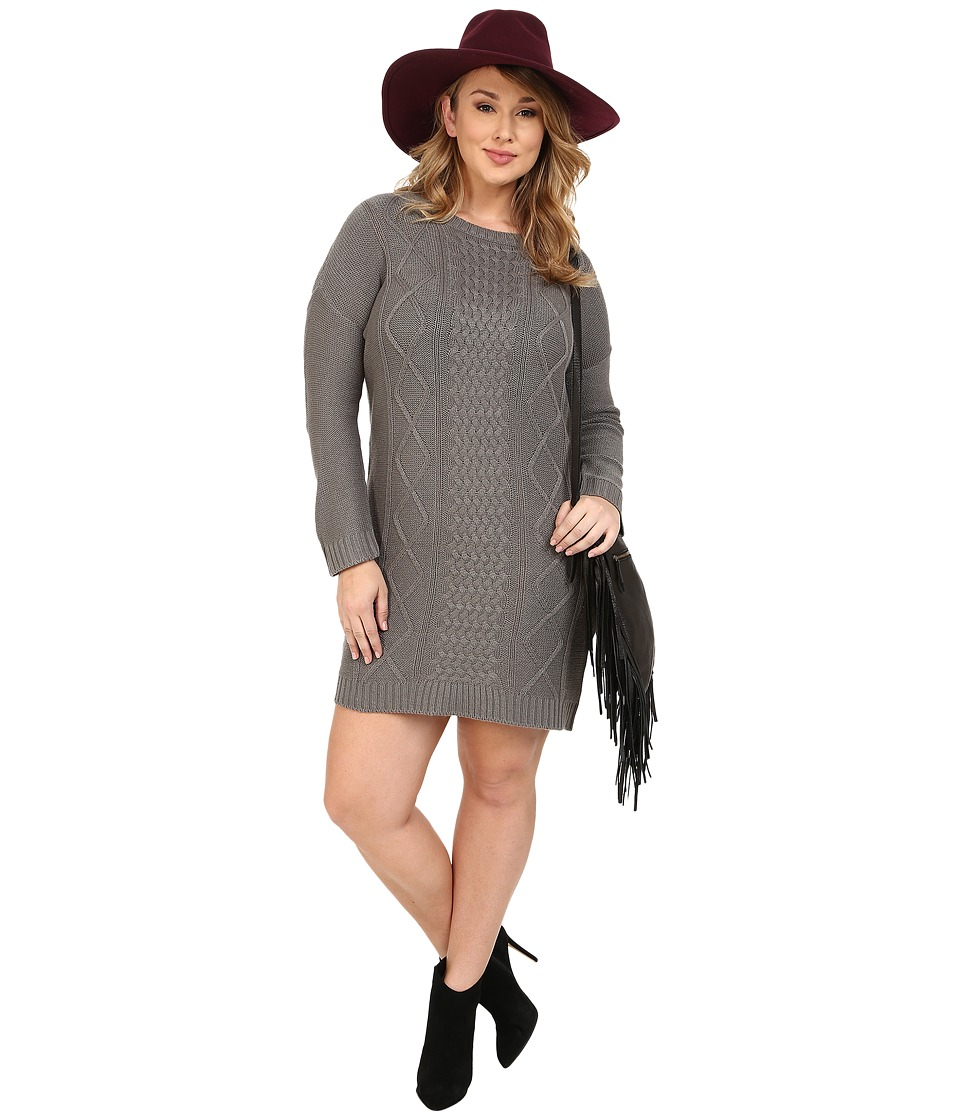 BB Dakota - Plus Size Diandra Diamond Cable Stitched Sweater Dress (Sky Grey) Women