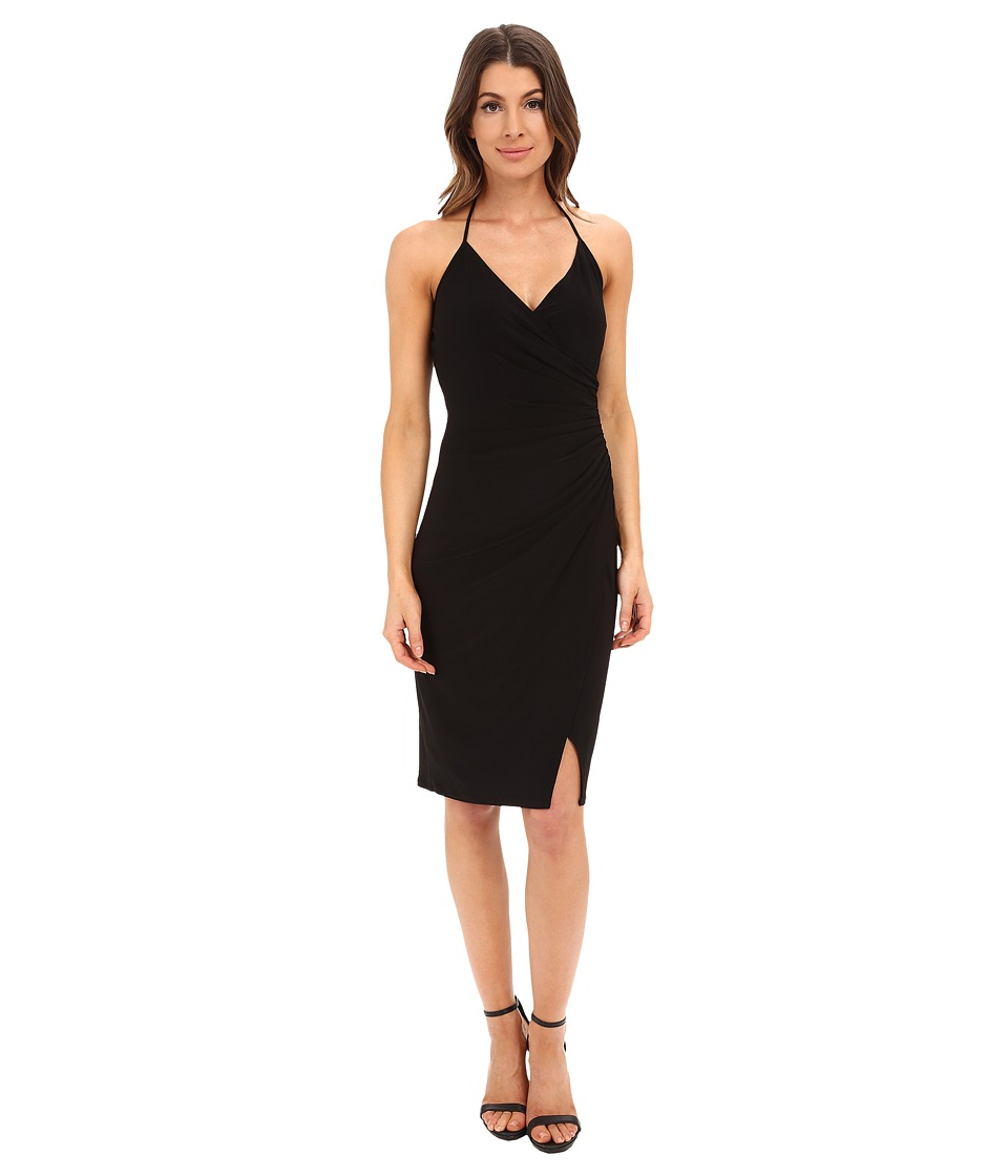 Laundry by Shelli Segal - Wrap Jersey Dress with Side Shirring (Black) Women's Dress