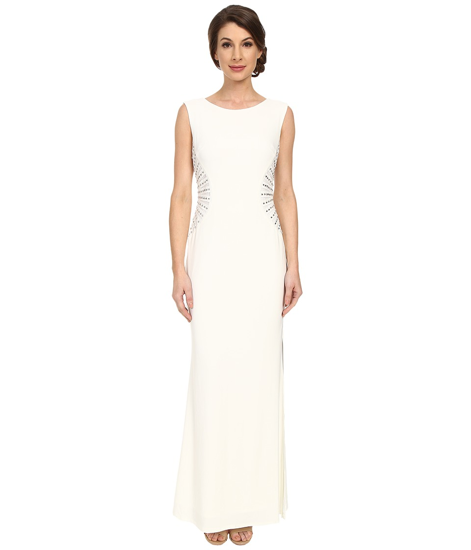 Laundry by Shelli Segal Embellished Side Jersey Gown (Pearl) Women