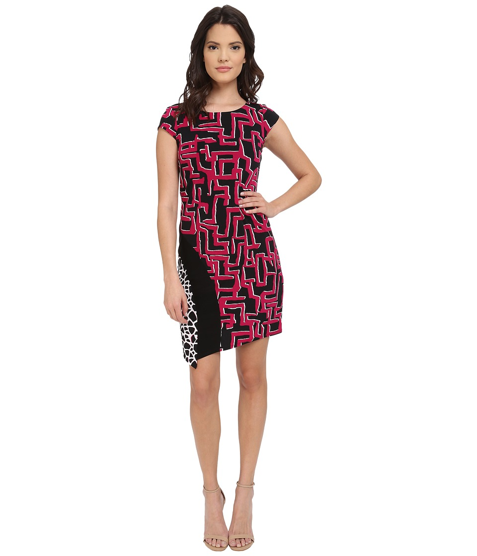 Laundry by Shelli Segal - Print Matte Jersey T-Body Dress with Seaming (Vivid Pink) Women's Dress