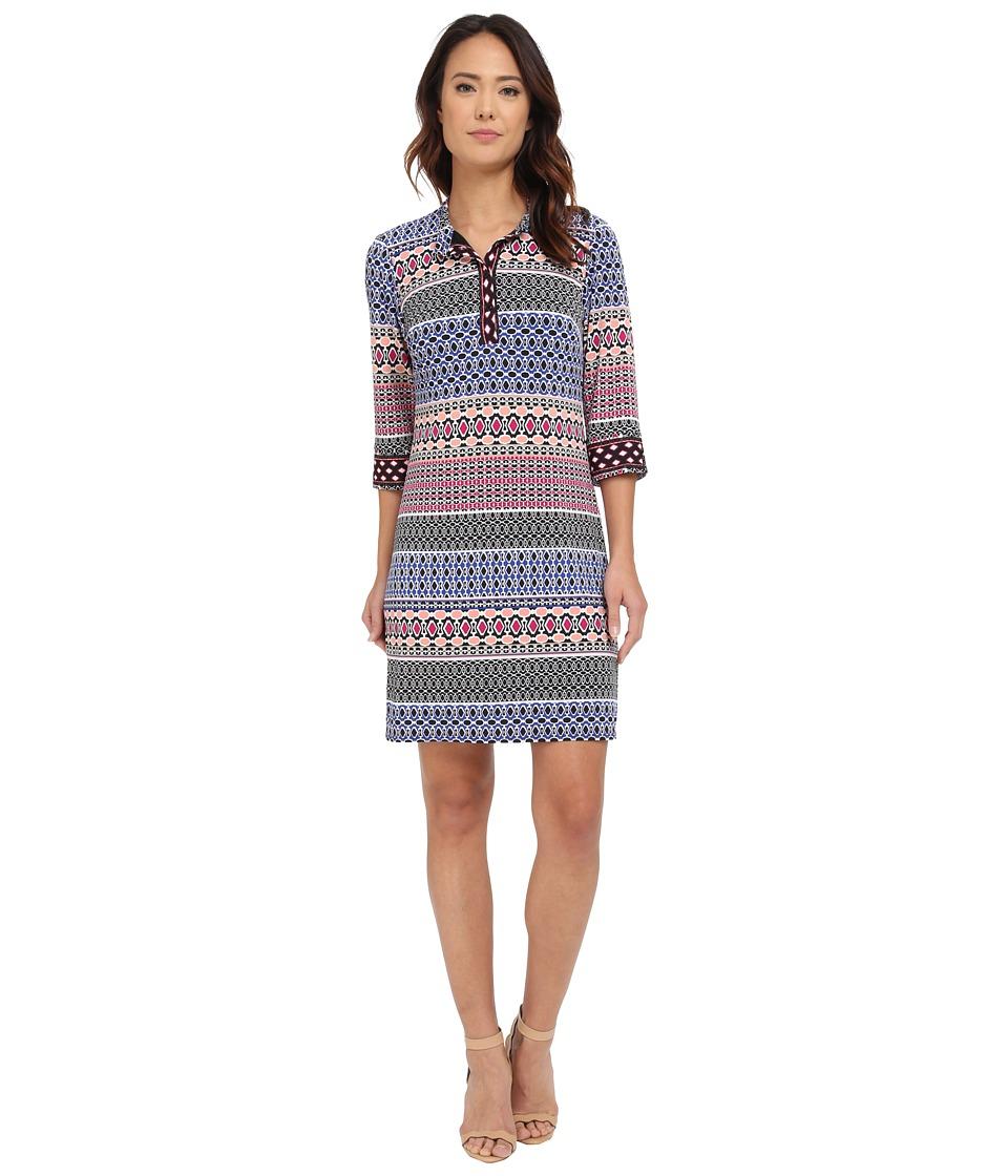 Laundry by Shelli Segal 3/4 Sleeve Print Matte Jersey Shirt Dress (Jubilee Blue) Women