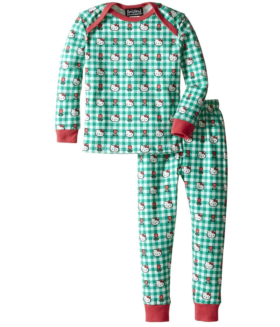 Image of BedHead Kids - Long Sleeve Baby Tee Pant Set (Infant) (Hello Kitty Green Gingham) Girl's Pajama Sets