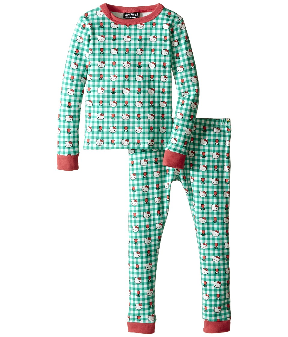 BedHead Kids - Long Sleeve Two-Piece PJ Set (Toddler/Little Kids) (Hello Kitty Green Gingham) Girl