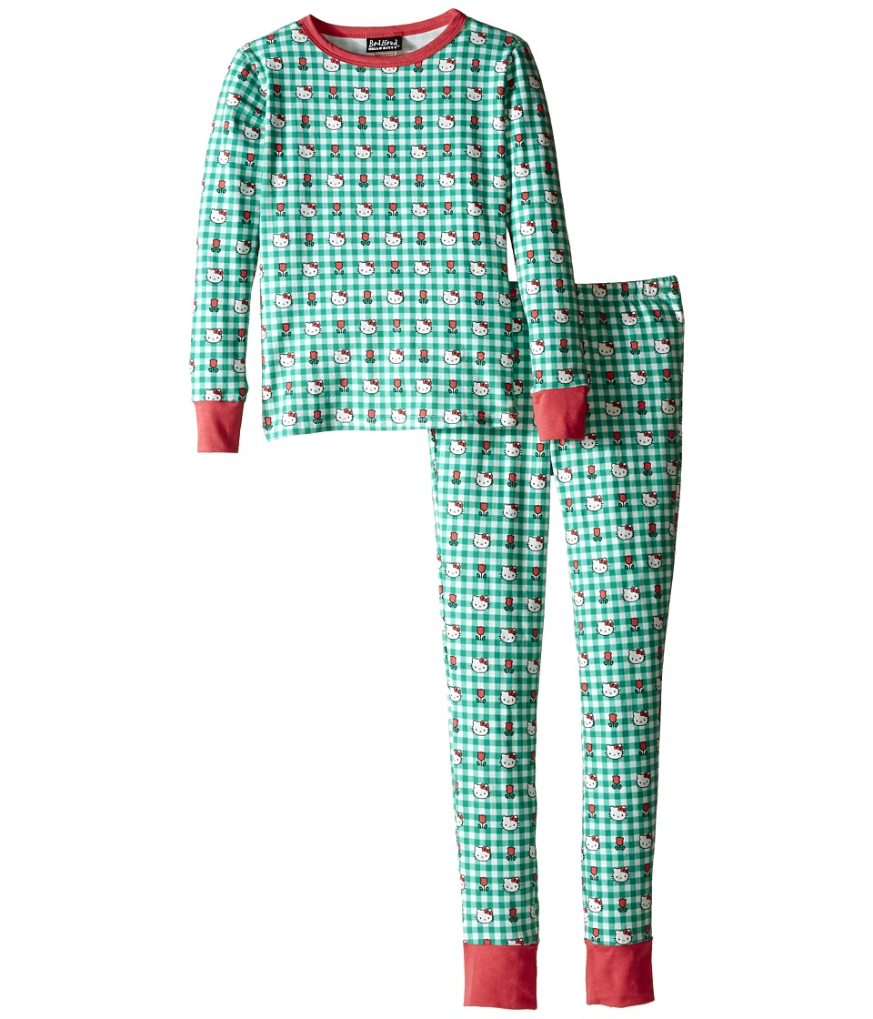 BedHead Kids - Tween Snug Fit Classic PJ (Big Kids) (Hello Kitty Green Gingham) Girl's Pajama Sets