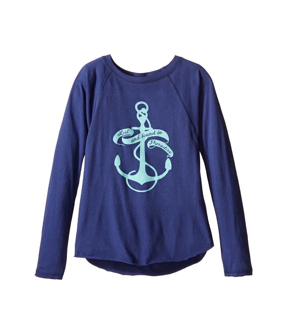 Billabong Kids - Found In Paradise Long Sleeve Raglan Tee (Little Kids/Big Kids) (Blue Cruz) Girl's Long Sleeve Pullover