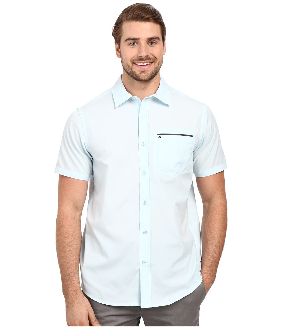Hurley - Dri-Fit One and Only Woven (Ice Blue) Men's Short Sleeve Button Up