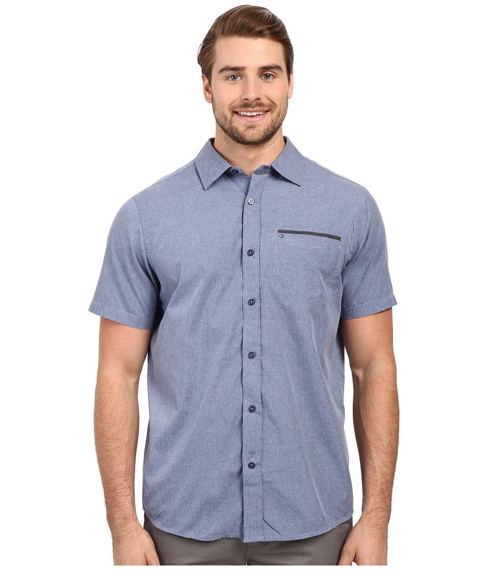 Hurley - Dri-Fit One and Only Woven (Coastal Blue) Men's Short Sleeve Button Up