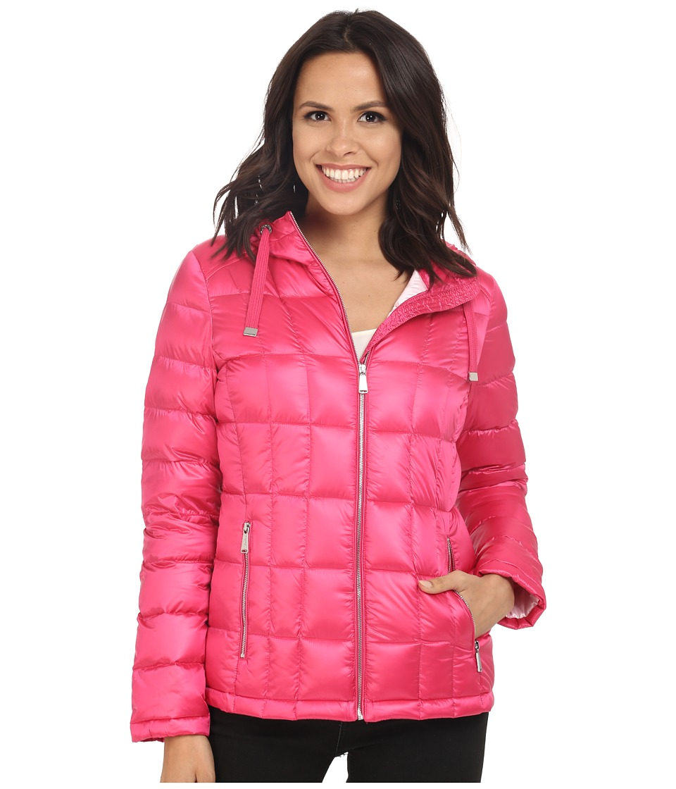 Calvin Klein Short Hooded Lightweight Packable Down (Pearlized Hibiscus) Women