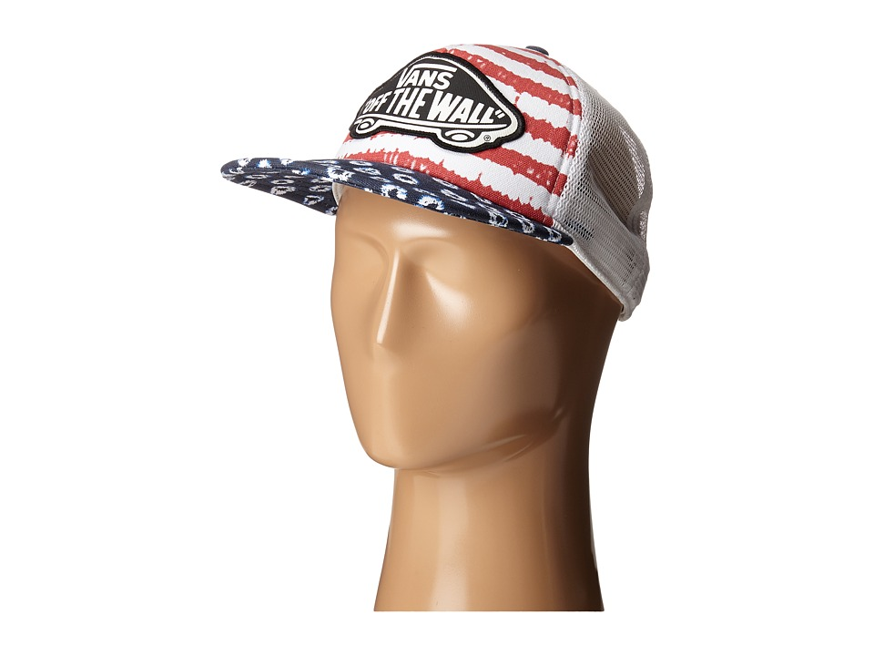 Vans - Beach Girl Trucker Hat ((Dyed Dots/Stripes) Blue/Red) Caps