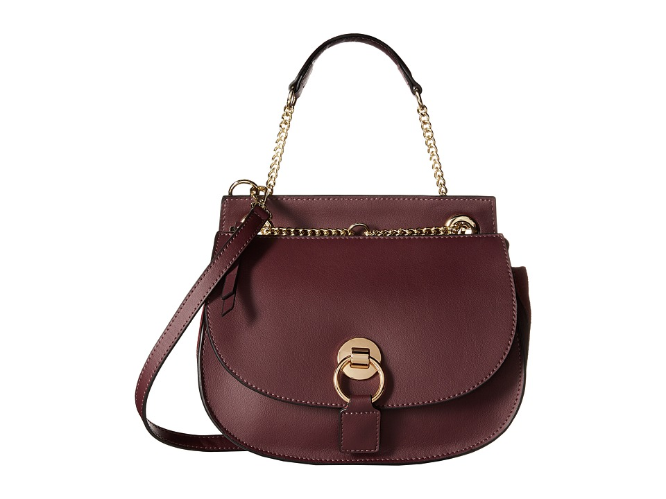 Gabriella Rocha - Lucinda Leather Purse with Gold Chain (Plum) Satchel Handbags