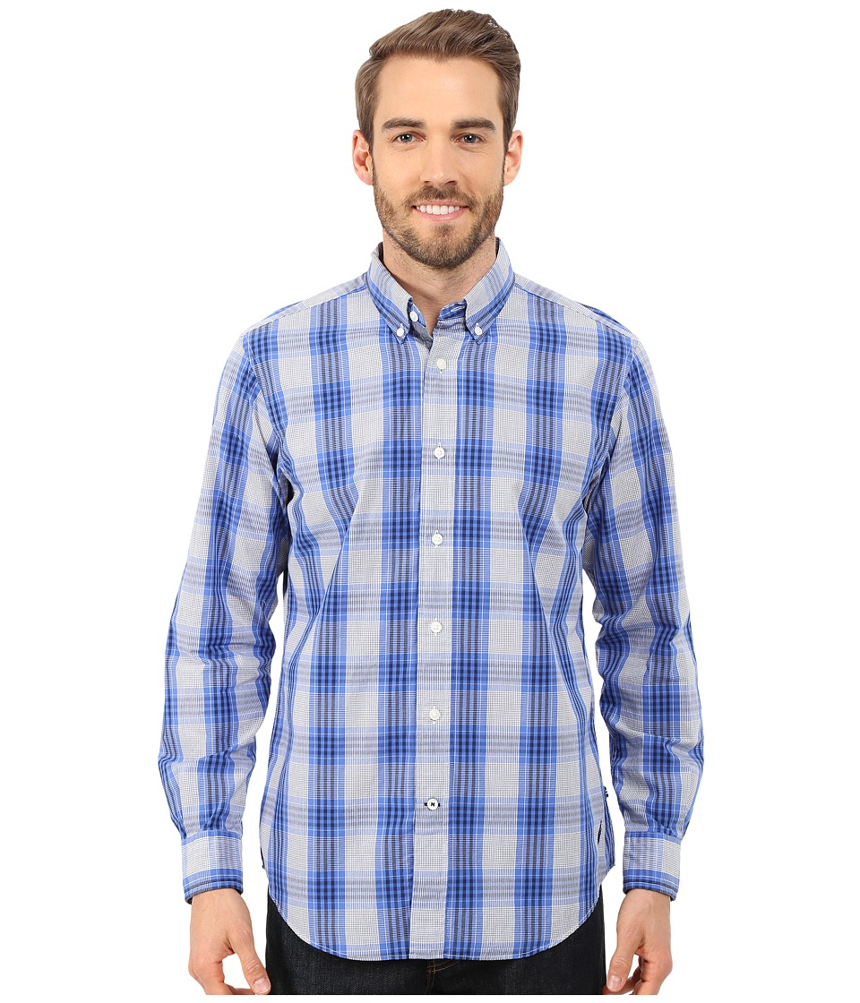Nautica - Long Sleeve Poplin Medium Plaid (Blue Nova) Men's Clothing