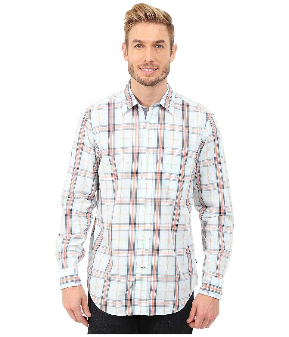 Nautica - Long Sleeve Poplin Medium Plaid (Bright White) Men's Long Sleeve Button Up