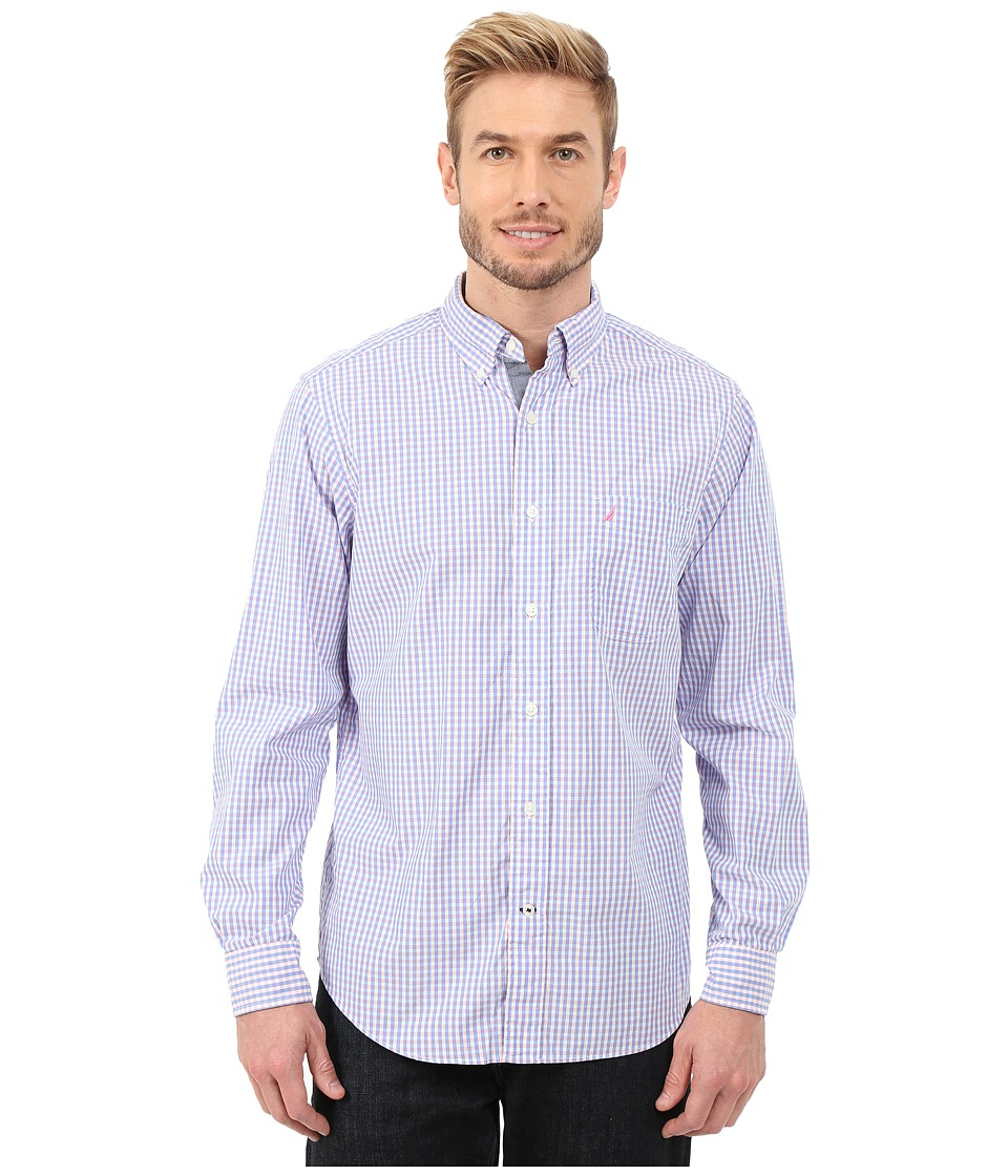 Nautica - Long Sleeve Poplin Gingham (Conch Shell Pink) Men's Long Sleeve Button Up