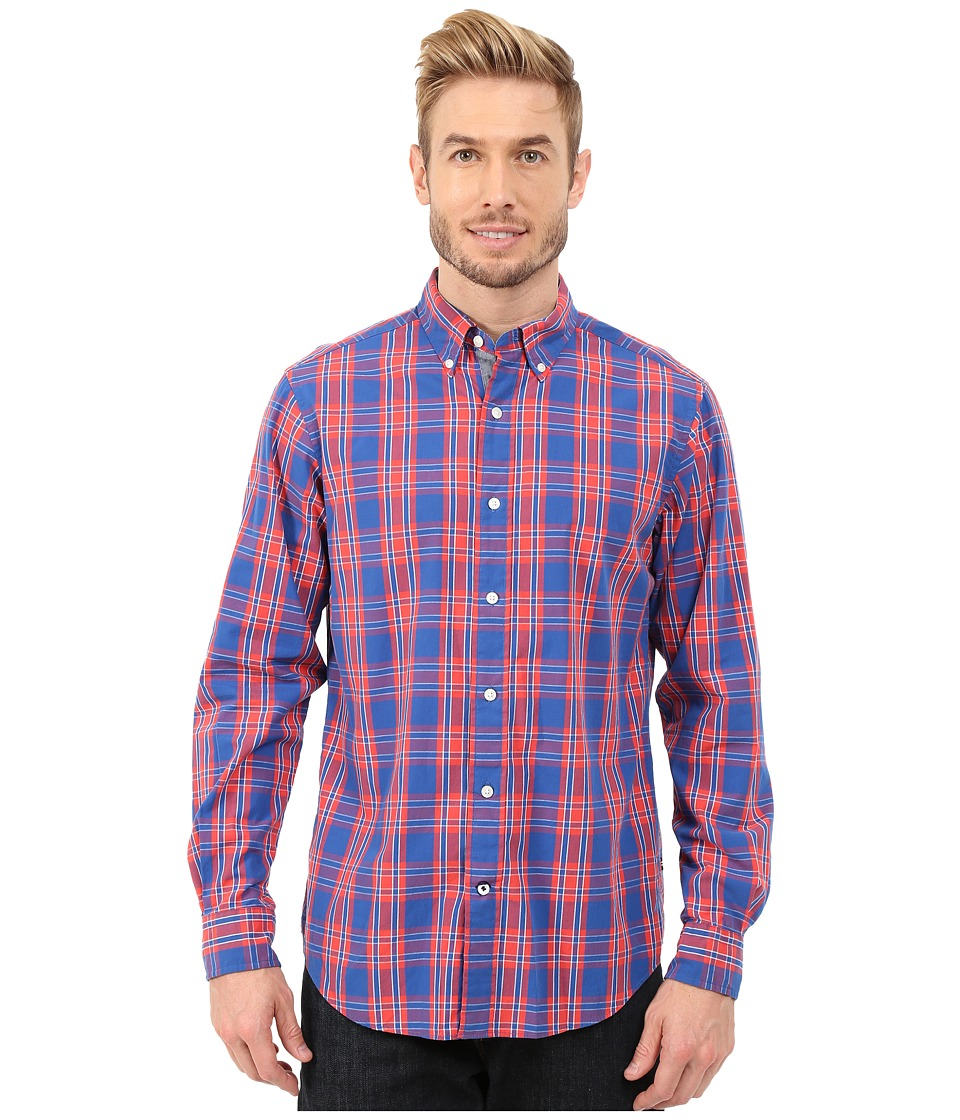 Nautica - Long Sleeve Poplin Medium Plaid (Light Mars Red) Men's Long Sleeve Button Up