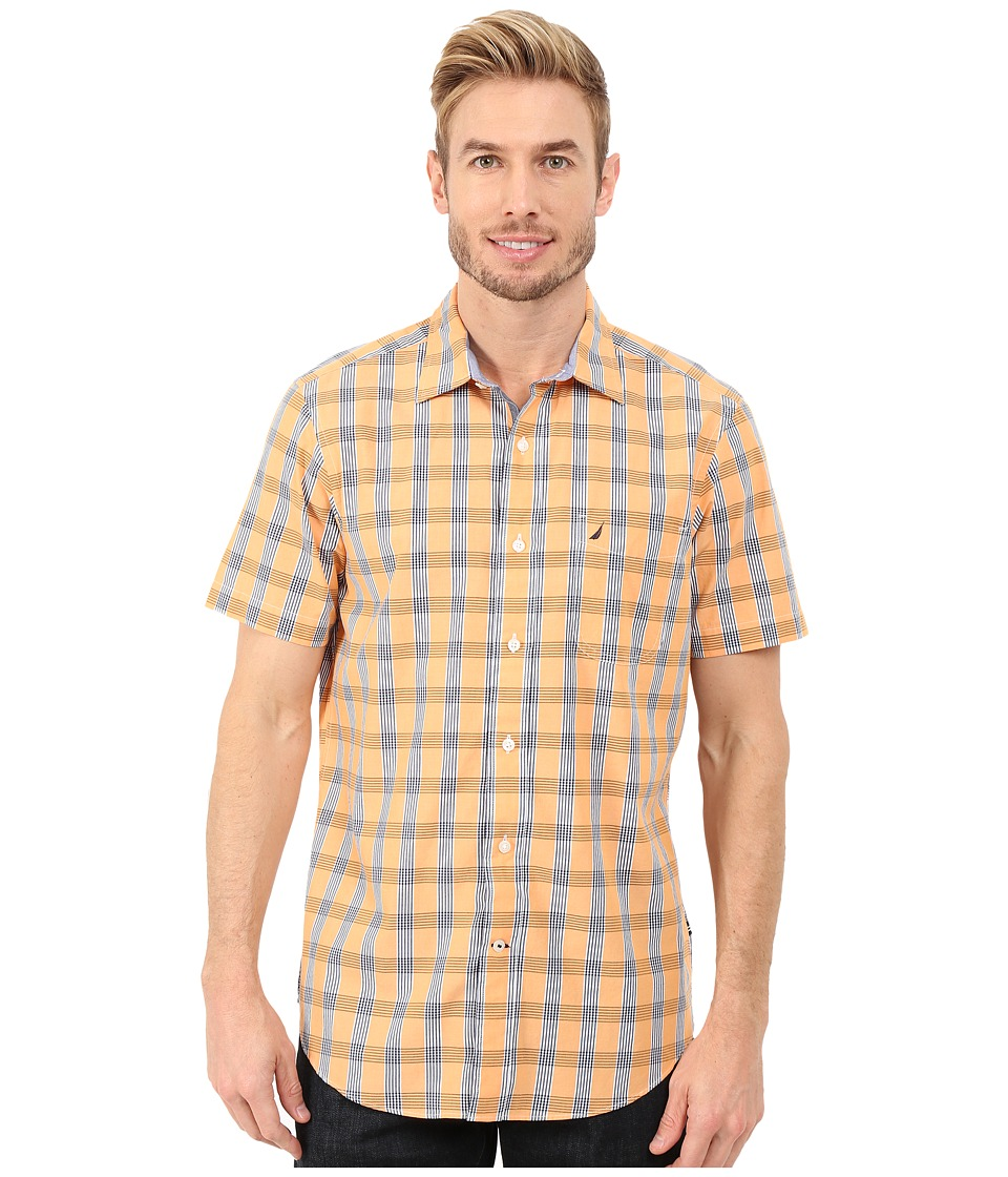 Nautica - Short Sleeve Medium Plaid (Sun Coast Orange) Men's Short Sleeve Button Up