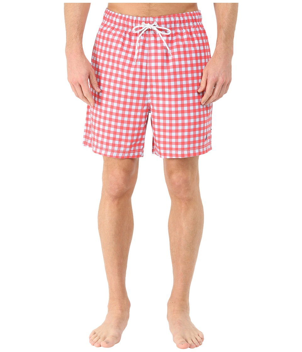 Nautica - Gingham Print Trunk (Light Mars Red) Men's Swimwear