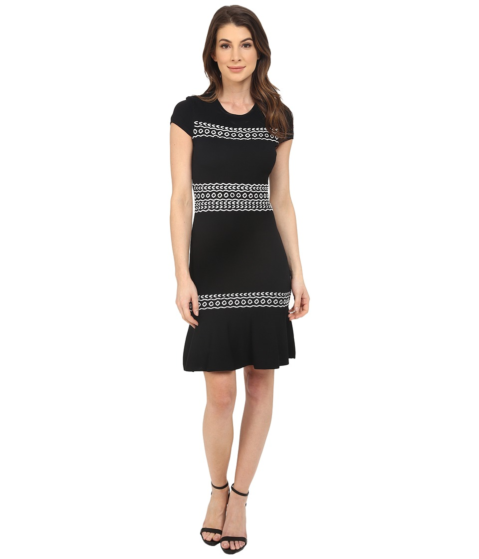 Shoshanna - Calista Knit Dress (Black/White) Women's Dress