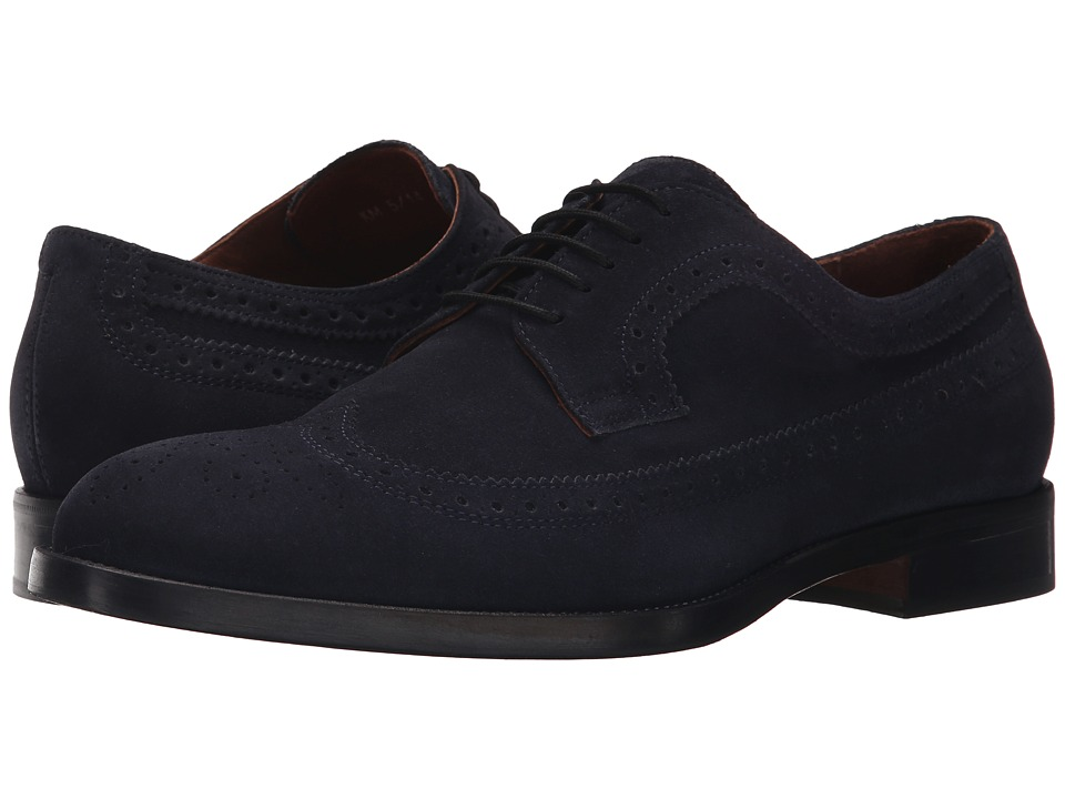 Kenneth Cole New York - Org-Anized (Navy) Men's Lace Up Wing Tip Shoes