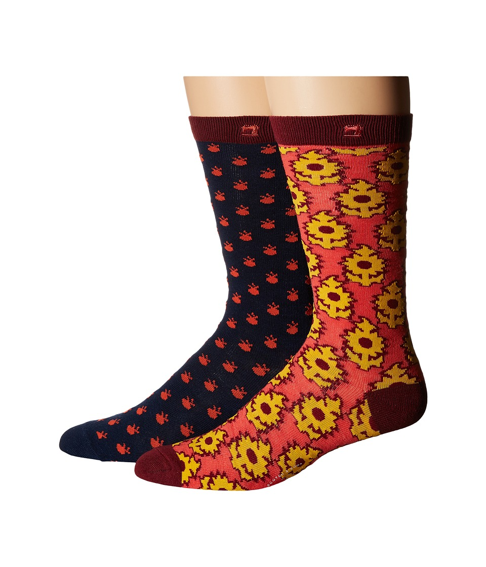 Scotch & Soda - 2-Pack Classic Socks in Colorful Pattern (Navy/Red) Men's Crew Cut Socks Shoes