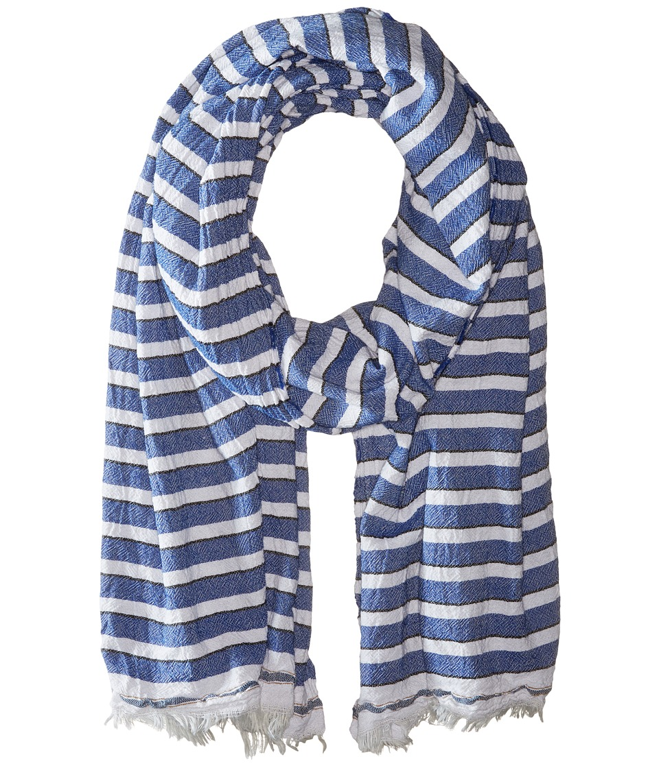 Scotch & Soda - Structured Scarf with Short Fringes (Navy/White) Scarves
