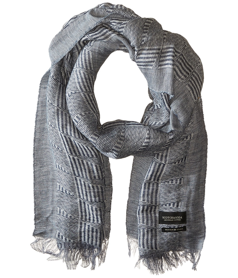 Scotch & Soda - Basketweave Inspired Scarf (Black/White) Scarves