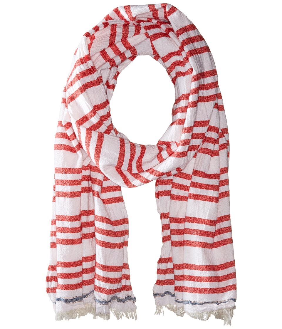 Scotch & Soda - Structured Scarf with Short Fringes (Red/White) Scarves