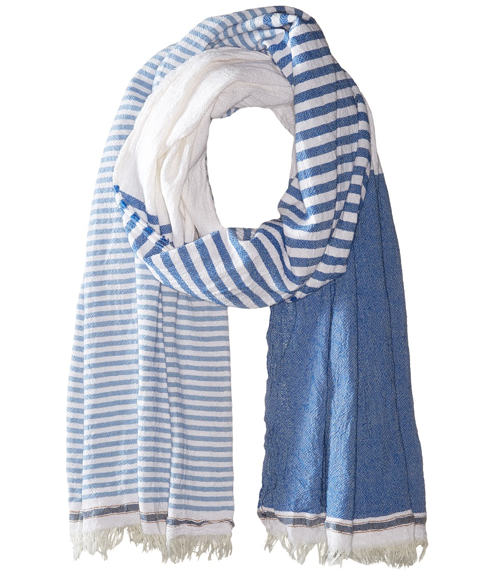 Scotch & Soda - Structured Scarf with Short Fringes (Blue/White) Scarves