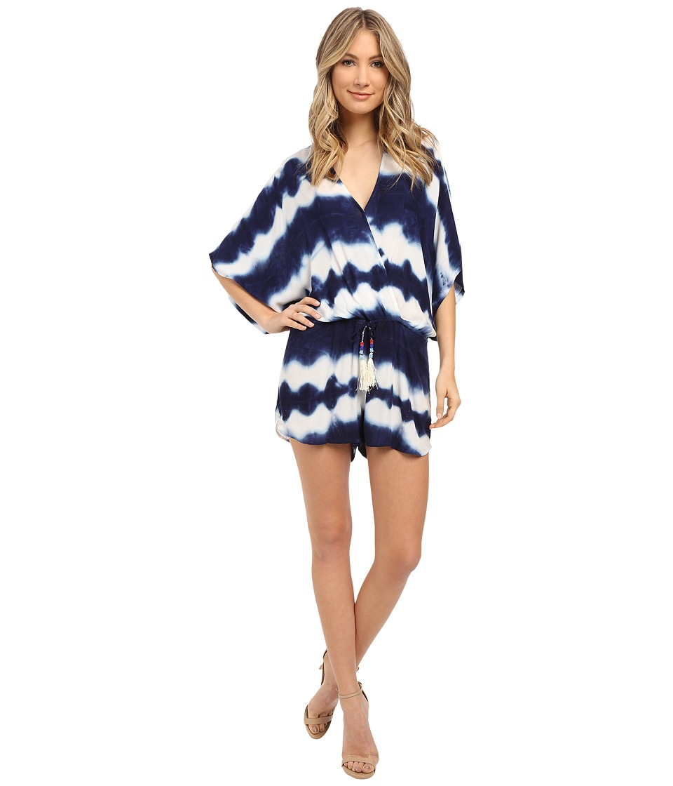 Young Fabulous & Broke - Ashley Romper (Navy Shibori Stripe Wash) Women's Jumpsuit & Rompers One Piece
