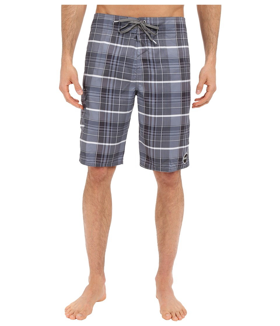 O'Neill - Santa Cruz Plaid Boardshorts (Grey) Men's Swimwear