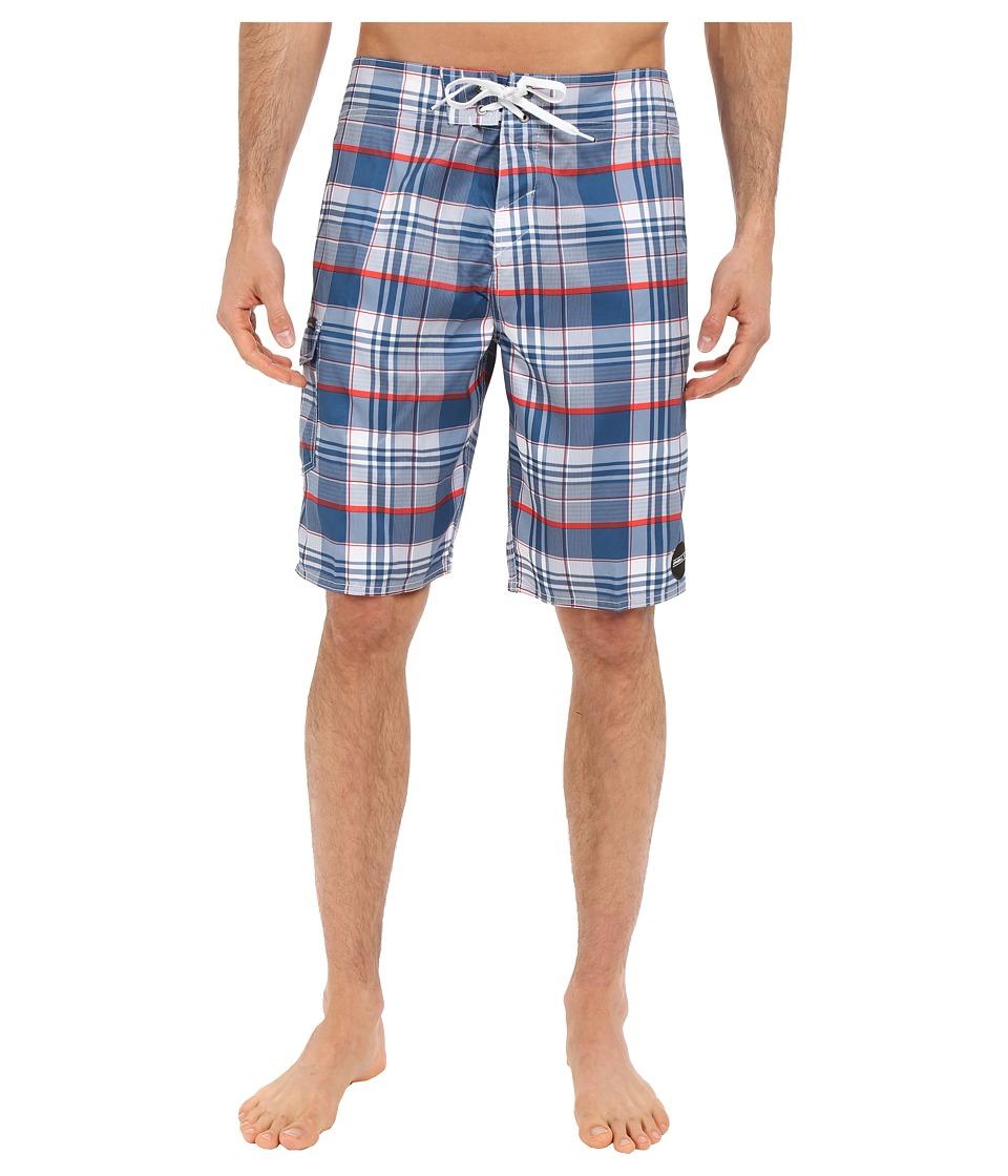 O'Neill - Santa Cruz Plaid Boardshorts (Navy) Men's Swimwear